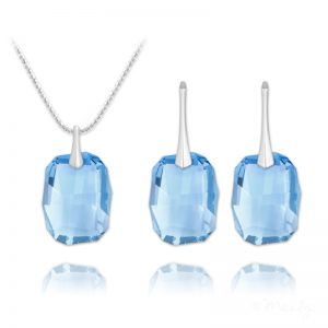 Graphic Silver Jewelry Set with Swarovski Crystal Aquamarine