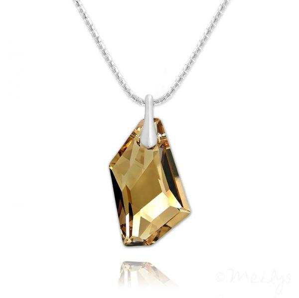 De-Art Silver Necklace with Swarovski Crystal Golden Shadow