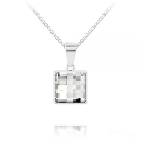 Chessboard V2 Silver Necklace with Swarovski Crystal - White