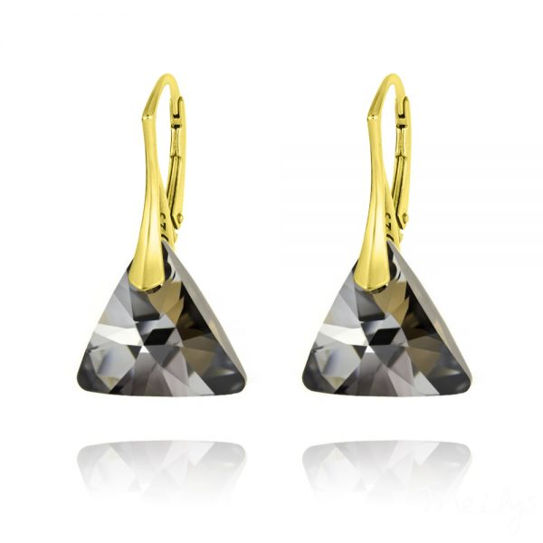 Triangle 16mm Yellow Gold Plated Silver Earrings with Swarovski Crystal - Silver Night