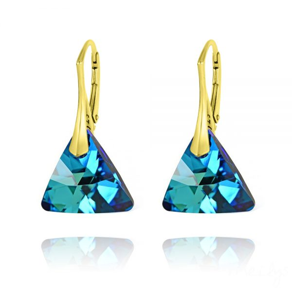 Triangle 16mm Yellow Gold Plated Silver Earrings with Swarovski Crystal - Bermuda Blue