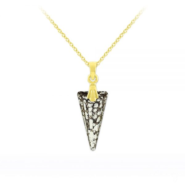 Tiny Spike 18mm Yellow Gold Plated Silver Necklace with Swarovski Crystal - Black Patina