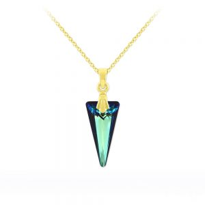 Tiny Spike 18mm Yellow Gold Plated Silver Necklace with Swarovski Crystal - Bermuda Blue