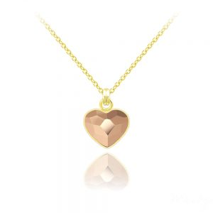 Tiny Heart 10mm Yellow Gold Plated Silver Necklace with Swarovski Crystal Rose Gold