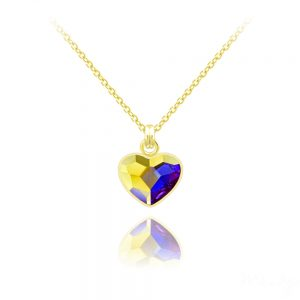 Tiny Heart 10mm Yellow Gold Plated Silver Necklace with Swarovski Crystal White AB