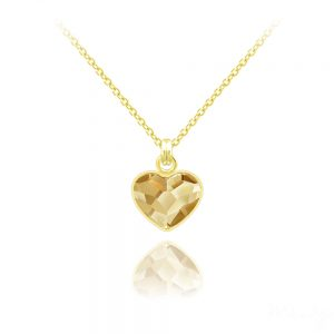 Tiny Heart 10mm Yellow Gold Plated Silver Necklace with Swarovski Crystal - Golden Shadow
