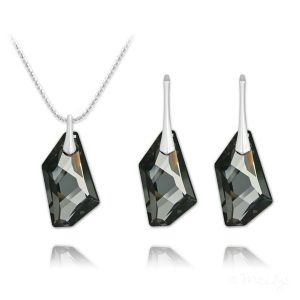 De-Art Silver Jewelry Set with Swarovski Crystal - Silver Night