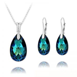 Pear 16mm/22mm Silver Jewelry Set with Swarovski Crystal - Bermuda Blue