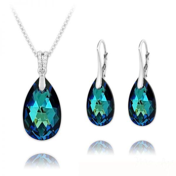 Pear 16mm/22mm Silver Jewelry Set with Swarovski Crystal - Bermuda Blue