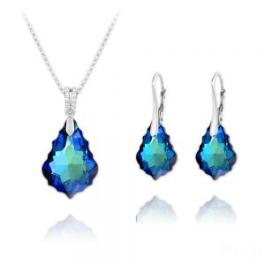 Baroque 16mm/22mm Silver Jewelry Set with Swarovski Crystal - Bermuda Blue