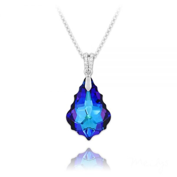 Barqoue 22mm Sterling Silver Necklace with Swarovski Crystal - Heliotrope
