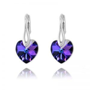 Heart Sterling Silver Earrings with Swarovski Crystal - Heliotrope