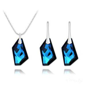 De-Art Silver Jewelry Set with Swarovski Crystal Bermuda Blue