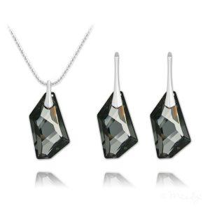 De-Art Silver Jewelry Set with Swarovski Crystal - Silver Night