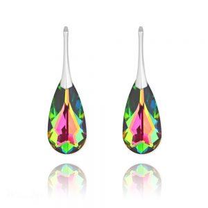Teardrop 24mm Silver Earrings with Swarovski Crystal Vitrail Medium