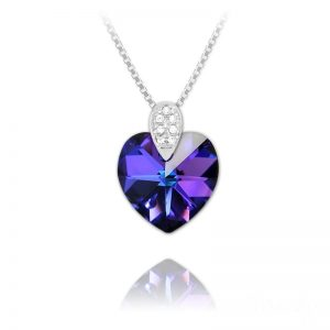 Heart 14mm Rhodium Plated Silver Necklace with Swarovski Crystal - Heliotrope